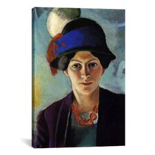'Portrait of The Artist's Wife with a Hat' by August Macke Painting Print on Canvas