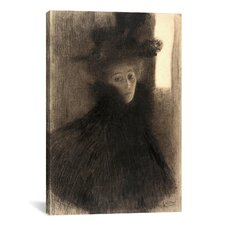 'Portrait of a Lady with Cape and Hat' by Gustav Klimt Painting Print on Canvas