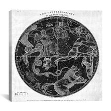 Maps and Charts Prints the Stars Constellations of the Northern Hemisphere (Burritt 1856) Graphic Art on Canvas in Black