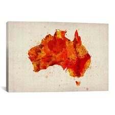 Map of Australia Paint Splashes by Michael Tompsett Graphic Art on Canvas in Red
