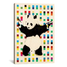 Street Art Panda with Guns Dots Graphic Art on Canvas in Beige