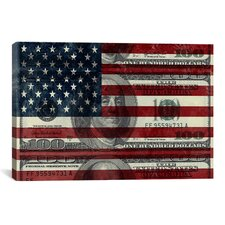 One Hundred Dollar Bill, USA Flag Graphic Art on Canvas in Multi-color