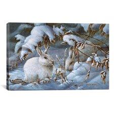 'Winter Hares' by Wanda Mumm Painting Print on Canvas