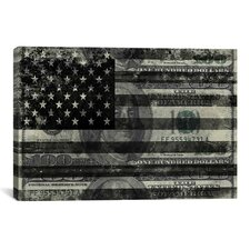 One Hundred Dollar Bill, USA Flag Graphic Art on Canvas in Black/White