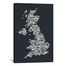Great Britain UK City Map by Michael Tompsett Textual Art on Canvas in Gray