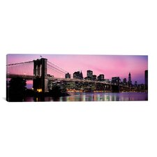 Brooklyn Bridge Across The East River at Dusk, Manhattan, New York Photographic Print on Canvas in Pink