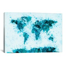 World Map Splashes by Michael Tompsett Painting Print on Canvas in Blue