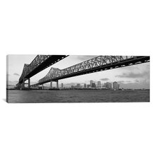 Panoramic Nola Skyline Cityscape (Bridge) Photographic Print on Canvas in Black/White