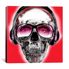 Skull Sun Glasses by Luz Graphics Graphic Art on Canvas in Red
