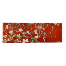 Almond Blossom by Vincent Van Gogh Painting Print on Canvas in Red