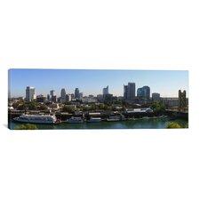 Panoramic Sacramento Skyline Cityscape Photographic Print on Canvas in Multi-color