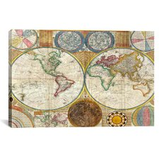 Antique General Map of the World (1794) by Samuel Dunn Graphic Art on Canvas in Color