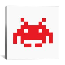 Space Invaders Graphic Art on Canvas in Red