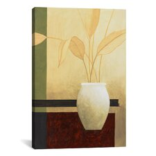 Decorative Art 'White Vase on the Table' by Pablo Esteban Painting Print on Canvas