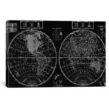 Antique Maps Japanese of The World in Two Hemispheres (1848) by Shincho Graphic Art on Canvas in Black