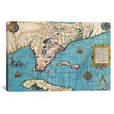 'Antique Maps of Florida and Cuba' by Jacques Le Moyne De Morgues Graphic Art on Canvas