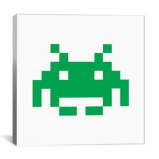 Space Invaders Graphic Art on Canvas in Green