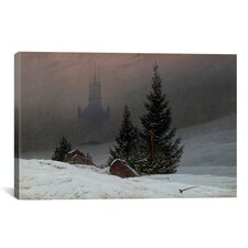 'Winter Landscape with a Church' by Caspar David Friedrich Painting Print on Canvas