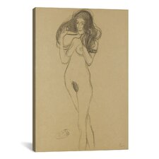 'Standing Female Nude Facing Left, Holding Her Hair' by Gustav Klimt Graphic Art on Canvas