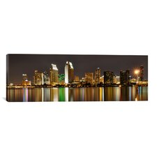 Panoramic San Diego Skyline Cityscape Photographic Print on Canvas in Night