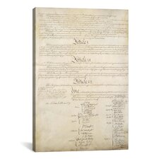 Political 'The Constitution Document Signatures' Textual Art on Canvas