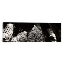 Christmas Tree Lit up at Night, Rockefeller Center, Manhattan, New York City Photographic Print on Canvas in Black/White