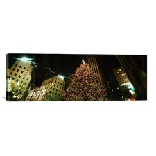 Christmas Tree Lit up at Night, Rockefeller Center, Manhattan, New York City Photographic Print on Canvas in Color