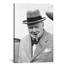 Political 'Winston Churchill Portrait' Photographic Print on Canvas