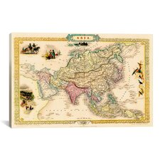 'Antique Map of Asia (1851)' by John Tallis Graphic Art on Canvas