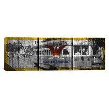 Flags San Francisco Streetcar with Wood Planks Graphic Art on Canvas