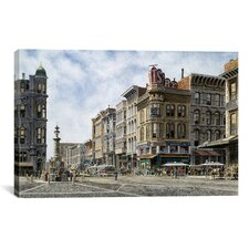 """San Francisco: Latta's Fountain, Market and Geary STS"" Canvas Wall Art by Stanton Manolakas"