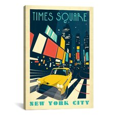 'Times Square, New York' by Anderson Design Group Vintage Advertisement on Canvas