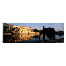 Panoramic Man Sitting on an Elephant, Amber Fort, Jaipur, Rajasthan, India Photographic Print on Canvas
