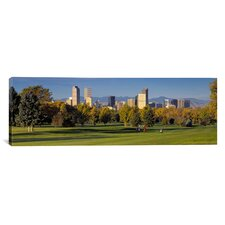 Panoramic Colorado, Denver, Panoramic View of Skyscrapers Around a Golf Course Photographic Print on Canvas