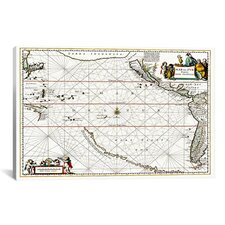 """Sea Chart of North American Discovery"" Canvas Wall Art by Jan Jansson"