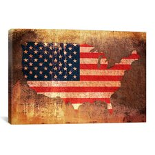 'U.S.A. Flag Map' by Michael Tompsett Graphic Art on Canvas