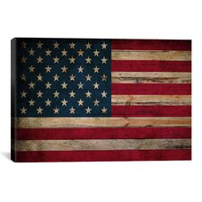 Flags U.S.A. Wood Graphic Art on Canvas