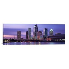 Panoramic Florida, Tampa, View of an Urban Skyline at Night Photographic Print on Canvas