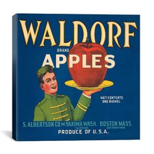 Waldorf Apples Vintage Crate Label Canvas Wall Art
