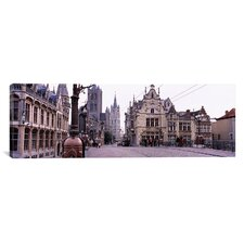 Panoramic St. Nicolas Church, Ghent, Belgium Photographic Print on Canvas