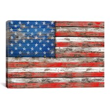 'U.S.A. Vintage Wood' by Maximilian San Graphic Art on Canvas