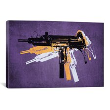 'Uzi Sub Machine Gun on Purple' by Michael Tompsett Graphic Art on Canvas