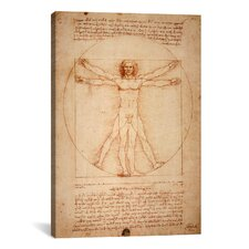 'Vitruvian Man 1492' by Leonardo Da Vinci Graphic Art on Canvas