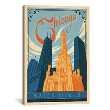 'The Water Tower - Chicago, Illinois' by Anderson Design Group Vintage Advertisement on Canvas