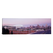 Panoramic Colorado, Denver, Invesco Stadium, Skyline at Dusk Photographic Print on Canvas