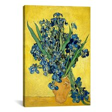 'Vase with Irises Against a Yellow Background' by Vincent Van Gogh Painting Print on Canvas