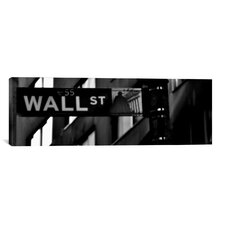 Political 'Wall Street Sign Panoramic' Photographic Print on Canvas