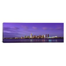 Panoramic California, San Diego, Dusk Photographic Print on Canvas
