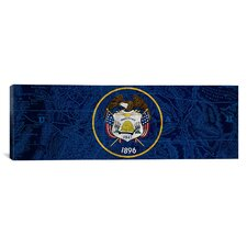 Flags Utah Map Panoramic Graphic Art on Canvas