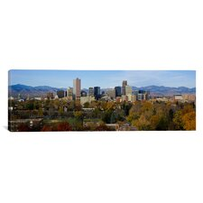 Panoramic Skyscrapers in a City with Mountains in the Background, Denver, Colorado Photographic Print on Canvas